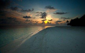 закат, пляж