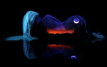 небо, ночь, горы, природа, контур, девушка, отражение, фон, пейзаж, звезды, горизонт, луна, черный, волосы, силуэт, гладь, тело, очертание