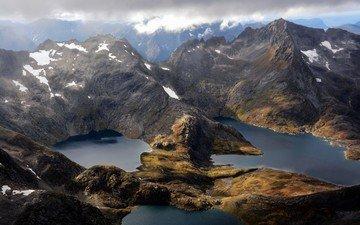 облака, горы, снег, озёра, норвегия, lakes, норвегии, straumgjerde