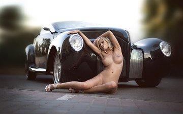 heels, car, naked, nude, blonde, busty