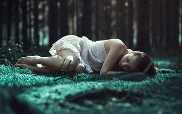 forest, girl, longing, emerald woods