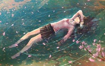 арт, вода, девушка, ветви, лепестки, сакура, письмо, jname