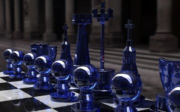 шахматы, игра, стратегия, chess set, blue side, ренденринг, cтекло