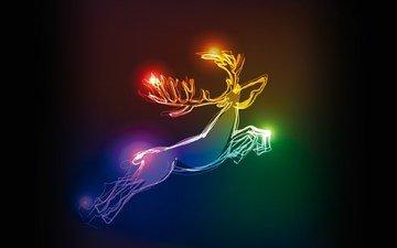 неон, олень, рождество, расцветка, xmas, оленей, елочная, новогодние олени