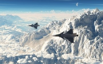 the sky, mountains, the plane, fighter