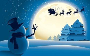 снег, снеговик, елки, олени, рождество, елочная, новогодние олени