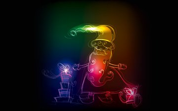 неон, робот, рождество, расцветка, xmas, елочная, санта