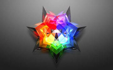 звезда, серый фон, цветная