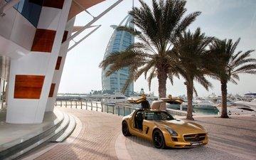 город, пальмы, автомобиль, дубай, burj al arab jumeirah