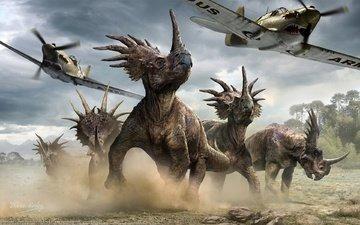 aircraft, dinosaurs