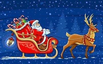снег, новый год, олень, подарки, сани, дед мороз, санта клаус, новогодние олени