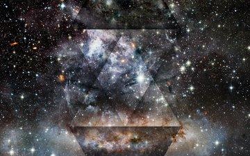 свет, космос, звезды, пятна, блеск, точки, треугольник