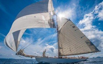 океан, яхта, ветер, паруса