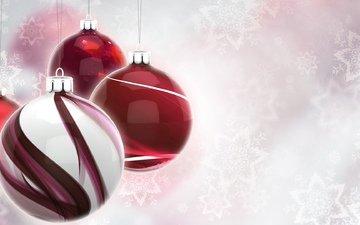 шары, снежинки, графика, краcный, клубки, елочная