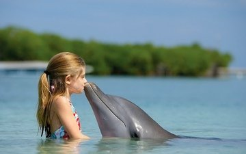 girl, friendship, dolphin