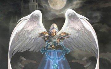 art, the moon, wings, angel, hood, natsuki-3, heroes of might and magic