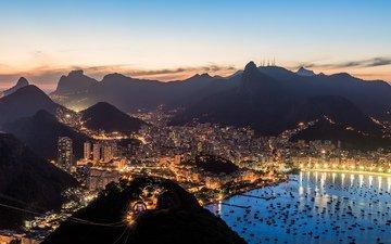 вечер, лодки, залив, бразилия, бухта, рио-де-жанейро