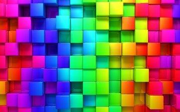 разноцветные, кубики, квадраты, куб, квадратики, 3d графика, кубики обои, радуга картинки