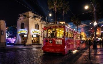ночной город, экскурсионный трамвай