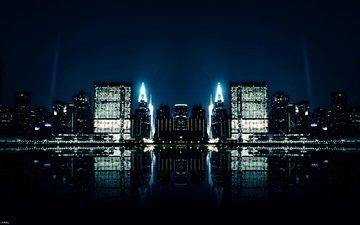 отражение, города, ночного, зеркальное