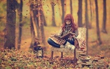 лес, девушка, книги