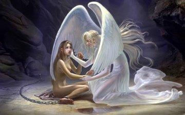 девушка-ангел склонилась над бедной девушкой