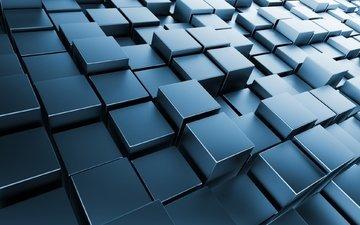 кубики, кирпич, кубы, метал, квадрат, 3д, хром