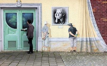 стена, дверь, граффити, германия, дрезден