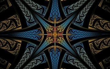 свет, линии, лучи, узор, цвет, 3д, симметрия
