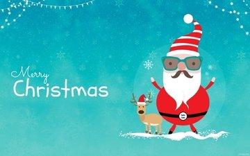 олень, зима, рождество, санта клаус, новогодние олени