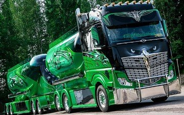 green, truck, chrome, tractor
