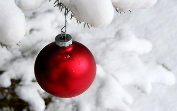снег, новый год, зима, шар, игрушки