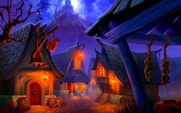огни, скалы, замок, домики, деревня, луна