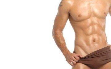 тело, красивое накачанное, мужское, в коричневых, плавках