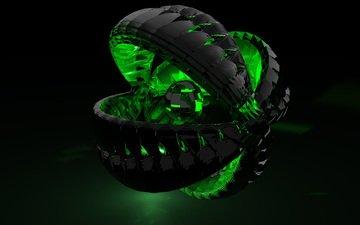 зелёный, шар