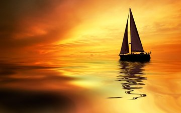 закат, море, лодка, яхта
