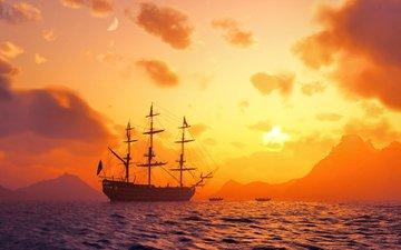 море, корабль