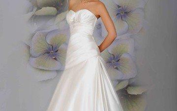 брюнетка, милая, на, причёской, голове, черноглазая, в красивом, свадебном платье, одежде, с прекрасной
