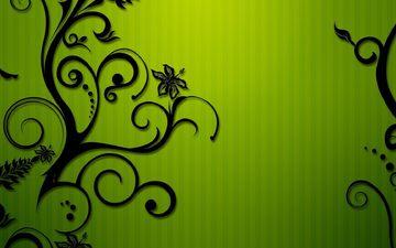 strip, green, patterns, flowers