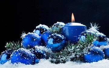 ночь, снег, новый год, шары, обои, снежинки, фон, синий, звезды, радость, рабочий стол, шарики, шар, темный фон, игрушки, свеча, праздник, синий фон, 2015 год, настроение.