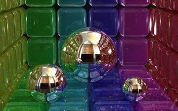 шары, кубы, 3д, цифровое искусство
