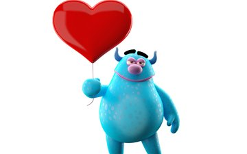 monster, heart, humor, 3d, cute, character, funny