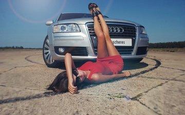 girl, background, look, legs, car