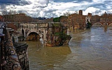 руины, италия, старый, рим, древний, потоки воды