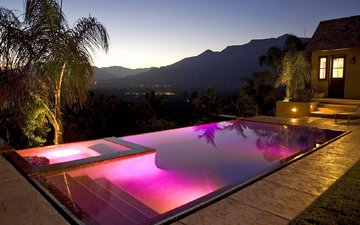 night, mountains, view, pool, backlight, villa