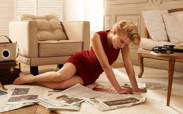 платье, красный, комната, актриса, газета, 2015 год, леа сейду, gевочка