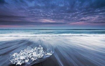 небо, облака, вечер, лёд, исландия, выдержка