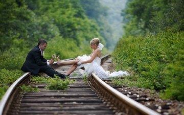 фон, ситуации, жених, свадьба, невеста, и, на рельсах