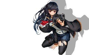 арт, девушка, оружие, пистолет, белый фон, saitom, матроска