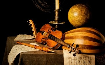 notes, violin, table, globe, candle, musical instruments, flute